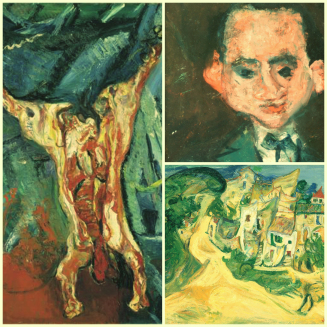 Chaim Soutine v.l. Carcass Of Beef, The Floor Waiter, Landscape at Cagnes